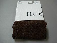 NWT Women's Hue Shimmer Herringbone Control Top Tights Size S/M Cinnamon #849T