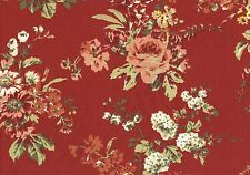 4.75  Yds Waverly Fabric Inspirations  Red Green Coral Gold  Drapery Upholstery