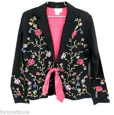 J. Marco Embroidered Cotton Blazer Jacket Hot Pink Floral on Black Sequins  S