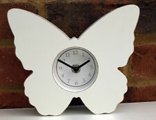 Butterfly Clock White Wood Shabby Chic Mantel Shelf Gift Wedding Home New