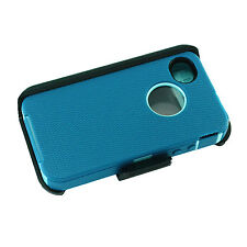 New For Apple Iphone 4/4s Defender Case Cover [Belt Clip Fits Otterbox]Cyan Teal
