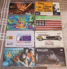 RARE SET OF 8 BT PHONE CARDS 1990'S GAP,NESCAFE,101 DALMATIONS,EUROSTAR ETC