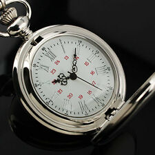 Antique Style Full Silver Steampunk Quartz Pocket Watch Chain Men Lady Xmas Gift