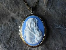 -VIRGIN MARY AND BABY JESUS CAMEO LOCKET - RELIGIOUS - ANTIQUED BRONZE- QUALITY