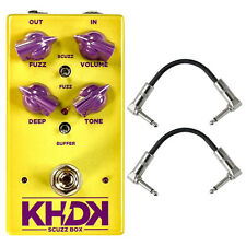 KHDK Scuzz Box Geranium-voiced Fuzz Guitar Effects Stompbox Pedal + Patch Cables