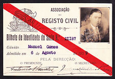 1929 . CIVIL REGISTRATION, IDENTITY CARD - Associação do Registo Civil, Portugal