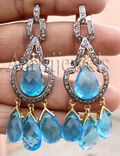 Victorian 2.00ct Rose Cut Diamond Blue Topaz Wedding Earrings Thanks Giving Day