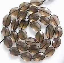 """GENUINE SMOKY QUARTZ FACETED OVAL BEADS 13.5 """"  8-10mm  S13"""