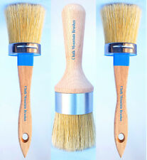 Chalk Furniture Paint Brushes/w Boar Bristles 2 Med Pro Paint & 1 Wax Pro Brush