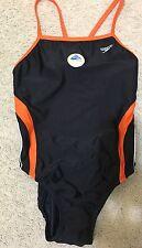 New Speedo Black+orange One Piece Swimwear Sz 8/34