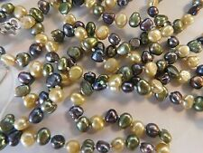 "Jewelry Necklace Pearl Genuine Freshwater 56"" 5-6mm Lt Yellow Green Peacock Brow"