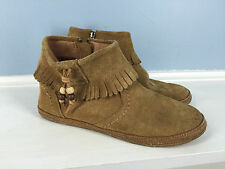 UGG brown suede leather 4 moccasin fringe ankle boot