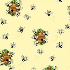 Fabric Bees & Bee Hives on Yellow Flannel by the 1/4 yard BIN