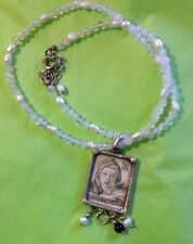 VTG 60s ARTISAN SILVER PENDANT IMAGE OF DELPHIC SYBIL STAMP PEARL BEAD NECKLACE