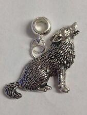 Wolf with 5mm Hole to fit Pendant Charm Bracelet European refC18