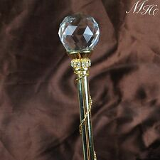 Gold Scepter Wand Clear Crystal Magic Fairy Props Wedding Pageant Party Costume