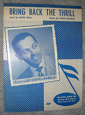 1950 BRING BACK THE THRILL Vintage Sheet Music BILLY ECKSTINE by Rugolo, Poll