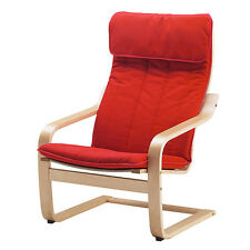 Ikea Poang Chair Birch / Ransta Red Cushion New