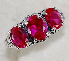 5CT Ruby 925 Solid Sterling Silver Edwardian Style Filigree Ring Sz 7, F3-2