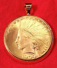 Gold Plate American Indian Head War Bonnet Eagle Coin Bezel Pendant for Necklace