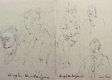 HUGH MCKENZIE - TWO (2) INK DRAWINGs OF PEOPLE #3 - FREE SHIP IN US