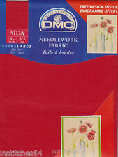DMC 14 Count Aida For Cross Stitch  Red Shade 321 Large
