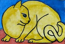 """A342   ORIGINAL ACRYLIC ACEO PAINTING BY LJH  - """"YELLOW CAT"""""""
