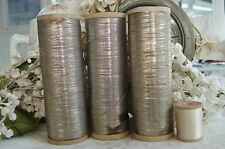 "ANTIQUE VINTAGE FRENCH 4 3/8"" SPOOL SILVER METAL METALLIC EMBROIDERY THREAD TRIM"