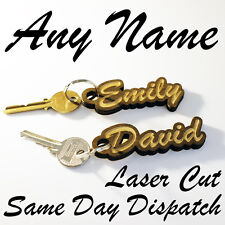 PERSONALISED Wooden KEYRING Novelty Teacher Gift Engraved Name Keychain Wood