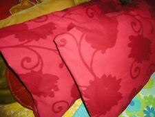 IKEA TANJA RED FLORAL PALAMPORE (PAIR) KING PILLOW SHAMS 100% COTTON 18 X 35