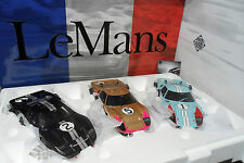 SET 3 FORD GT40 MK II LE MANS 1966 WINNER SECOND THIRD 1/18 EXOTO 18SC2 TRES RAR