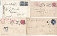 1900/16 4 x USA TO UK (2) DENMARK & GERMANY ALL BY NAMED SHIPS - MARITIME POST