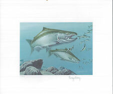 NORTH DAKOTA 1984 STATE TROUT & SALMON  STAMP PRINT BY Roger Cruwys + Mint Stamp