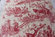 "Antique French Romantic Printed Linen Toile c1890~1 yd 2""L X 32""W"
