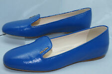 Prada Womens Shoes Ballet Flats Size 40 Calzature Donna Vernice Blue Leather NIB