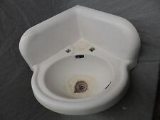 Antique Cast Iron White Porcelain Corner Sink Vintage Bathroom Plumbing 5137-15