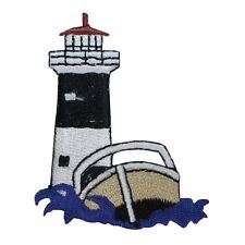 ID 1840Z Lighthouse & Speed Boat Nautical Embroidered Iron On Applique Patch