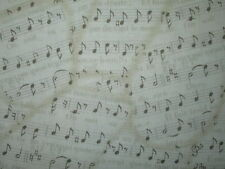 VINTAGE MUSIC NOTES SONGS FRENCH WRITING COTTON FABRIC BTHY