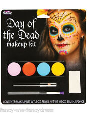 Ladies Day of the Dead Sugar Skull Face Paints Make Up Fancy Dress Costume Kit