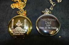 *MASONIC PERSONALISED POCKET WATCH YOUR OWN NAME AND LODGE No AND FREE MESSAGE *