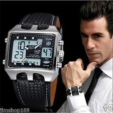 Homme Acier Inoxydable Cuir Noir LCD Montre Digitale Sport Quartz Bracelet GB