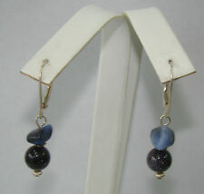 Sterling Silver Blue Stone & Glitter Ball Leverback Earrings - 3.69 Grams # N134