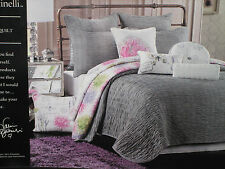 NIP VALERIE BERTINELLI Ruched/Gathered Light Grey FULL/QUEEN QUILT + 2 SHAMS