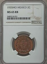 MEXICO ESTADOS UNIDOS 1935  2 CENTAVOS COIN CERTIFIED UNCIRCULATED NGC MS65-RB