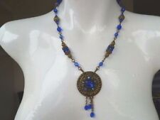 EDWARDIAN ART DECO FILIGREE BRASS & CZECH GLASS VINTAGE LAVALIER NECKLACE