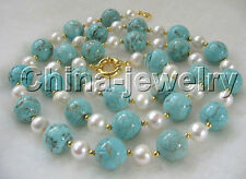 """P2500-30"""" 9-10mm white freshwater pearl +14mm turquoise necklace-yellow GP clasp"""