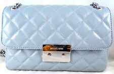 MICHAEL MICHAEL KORS SLOAN DUSTY BLUE QUILTED LEATHER LARGE CHAIN SHOULDER BAG
