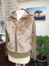 HONEY COLOUR FAUX FUR HOODED CROPPED LADIES GIRLS JACKET SIZE 12