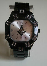 BLACK  FINISH WITH CLEAR CRYSTAL  MASONIC SIGN BRAND NEW FASHION WATCH