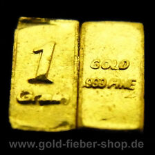 1 Grain PURE SOLID .9999 24k FINE GOLD BAR, bullion, ingot, nugget, coin, gift